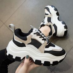 korean shoes sneakers Women Chunky Sneakers Vulcanize Shoes Korean Fashion New Female Black - shoemastery Dr Shoes, Hype Shoes, Me Too Shoes, Black Shoes Sneakers, Running Sneakers, Shoes Heels, Shoes Jordans, Women's Sneakers, Shoes Cool