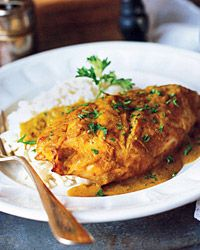 """Chicken with Banana Curry Sauce. """"Caribbean curries often have a mild sweetness, usually from fruit. The banana flavor here is very subtle; you needn't worry about your dinner tasting like dessert"""" Heart Healthy Recipes, Veg Recipes, Curry Recipes, Sauce Recipes, Wine Recipes, Indian Food Recipes, Chicken Recipes, Cooking Recipes, Chicken Ideas"""