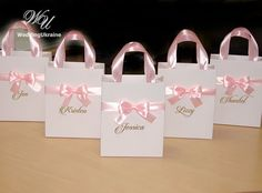 bag items Baby Pink Brides Gift Bag Personalized Bridal Party favors Bags Bridesmaids Gifts Wedding Welcome Bag with satin ribbon, bow and names Destination Wedding Welcome Bag, Wedding Welcome Bags, Wedding Favor Boxes, Party Favor Bags, Bridal Gifts For Bride, Wedding Gifts, Wedding Souvenir, Diy Wedding, Wedding Venues