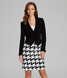 Tahari by ASL 2Piece Houndstooth Skirted Suit #Dillards