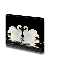 "Wall26 - Canvas Prints Wall Art - Two Swans on the Black Surface for Home or Office Decor | Modern Wall Decor/ Home Decoration Stretched Gallery Canvas Wrap Giclee Print. Ready to Hang - 20"" x 30"" wall26 http://www.amazon.com/dp/B00Y7QWL78/ref=cm_sw_r_pi_dp_44ZIwb0D595JB"