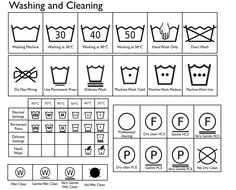 Washing and Cleaning symbols for clothing labels, luckylabel.com
