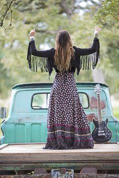 junk gypsy // vintage gunne sax dress, jg fringe and tumbleweed boots
