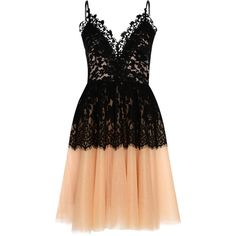 True Decadence Lace Bodice Tutu Dress, Black/Nude ($75) ❤ liked on Polyvore featuring dresses, floral print maxi dress, sleeveless cocktail dress, lace cocktail dress, floral cocktail dresses and v neck cocktail dress