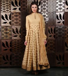 Beige #Brocade #Anarkali #Suit by #Rohit #Bal at #Indianroots