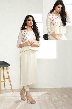 White-Designer-Festive-Wear-Koti-Style-Cotton-Long-Kurthi-On-Factory-Rates-2505-8496 #bulk #wholesale #wholesalesupplier #wholesaledealer #bulksupplier #bulkdealer #cotton #kurti #kurta #wholesaler #stylish  #kurtiwholesaler #kurtiwholesalesupplier #kurtibulksupplier #kurtibulkdealr #kurtawholesaler #suratwholesaler #latestkurtis #embroidery #embroidered #eventwear #printed # #LKFABKART Jacket Style Kurti, Kurti With Jacket, Long Kurti Patterns, Kurta Designs, Blouse Designs, Stylish Kurtis, Indian Designer Suits, Stylish Jackets, Eastern Dresses