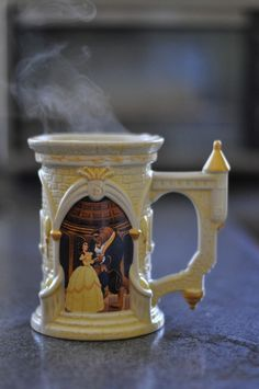 beauty and the beast mug; I love it! How could you not smile while drinking from this!