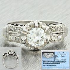 1920s Antique Art Deco 14k Solid Gold .63ct Old European Diamond Ring EGL