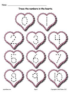 FREE Printable Valentine's Day Number Tracing Worksheet Numbers Preschool number tracing worksheets like this one are for tracing practice, handwriting, fine motor skills, and more. Get both Valentine's Day tracing numbers worksheets here --> Preschool Writing, Numbers Preschool, Free Preschool, Preschool Printables, Preschool Worksheets, Preschool Activities, Free Printables, Preschool Education, Math Numbers