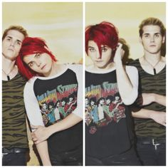 Gerard and Mikey Way from My Chemical Romance<<<<<<< I love MCR but Gee you look like mikeys girlfriend I'm sorry My Chemical Romance, Emo Bands, Music Bands, Mcr Band, Mikey Way, Black Parade, Black Veil Brides, Pierce The Veil, Green Day