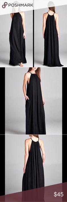 Gorgeous Lined Black Dress Gorgeous Gauze, lined dress. Has button behind neck. Never Worn- GORGEOUS!!!!!! Boutique Dresses