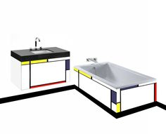 Piet Mondrian De Stijl style painted wall hung vanity unit & bath panel
