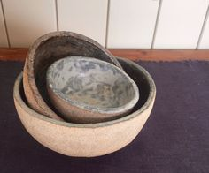 set of crank bowls with marble and reduced slip decoration.