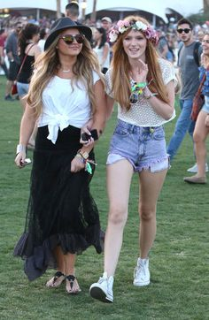 See All the Celebrities at Coachella This Year: Solange Knowles posed at the DIESEL + EDUN bash. : Kate Bosworth wore white lace to hang with fiancé Michael Polish. : Whitney Port let loose on the field, after telling us it took her just one hour to pack for the 3-day festival! : Bella Thorne wore a floral crown.