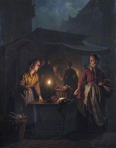 A Market Scene at Night by Petrus van Schendel