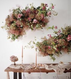 Ideal for a late summer wedding. Hydrangea jasmine rose foliage and smoke bush to add fluff and texture. Would smell divine! Love the tendrils and mix of ingredients. Arte Floral, Deco Floral, Wedding Reception Flowers, Floral Wedding, Wedding Centerpieces, Wedding Decorations, Flower Installation, Hanging Flowers, Dried Flowers