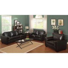 West Hampton Drew 3-Piece Leather Living Room Set - Dark Cappuccino