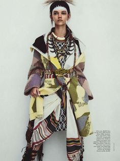 Publication: Vogue Australia April 2014 Model: Marina Nery Photographer: Sebastian Kim Fashion Editor: Katie Mossman Hair: Bok-Hee Make-up: Mariel Barrera Foto Fashion, Tribal Fashion, Fashion Moda, Trendy Fashion, High Fashion, Fashion Trends, Ankara Fashion, Africa Fashion, Vogue Fashion