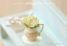 Dollhouse Miniature Flowers - Cabbage Flower Arrangement by miniaturepatisserie on Etsy https://www.etsy.com/listing/179442720/dollhouse-miniature-flowers-cabbage
