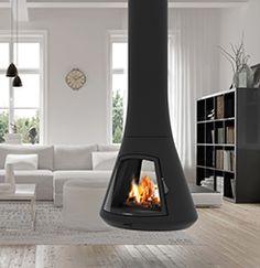 Design fireplaces JC Bordelet CALISTA Floating Fireplace, Hanging Fireplace, Metal Fireplace, Freestanding Fireplace, Open Fireplace, Stove Fireplace, Fireplace Design, Foyers, Free Standing Wood Stove