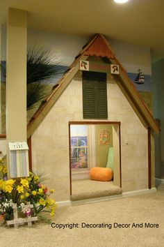 seriously cute idea for kids playroom. if ours wasn't right at the front of the house I'd have a crack at constructing this. with zero building experience not sure i would to attempt a mess near our home entrance. pity. nice idea.