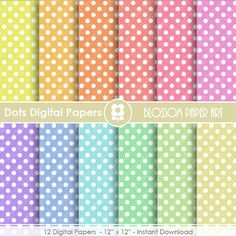 Digital Paper - Dots Digital Paper Pack - Colours - Scrapbooking Paper - Scrapbook - Rainbow - INSTANT DOWNLOAD - 1656