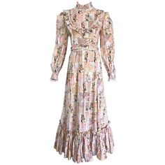 1970s Holly Hobbie Novelty Print Victorian Inspired Cotton Vintage Maxi Dress   From a collection of rare vintage day dresses at https://www.1stdibs.com/fashion/clothing/day-dresses/