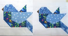 I am so loving these pieced birds for a new quilt I've started. And since this month's color for our scraps is blue, these are blue birds. O...