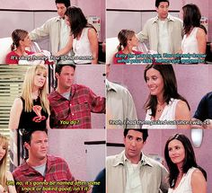 """It's gonna be named after some snack or baked good, isn't it?"" #friends"