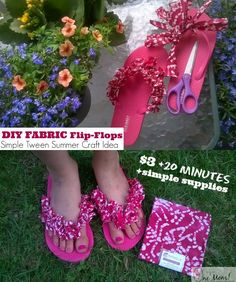 One Savvy Mom ™ | NYC Area Mom Blog: DIY Fabric Flip Flops: Fun & Frugal Tween Summer C...