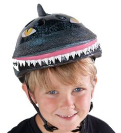 Raskulls 3-D Helmet with Shock Absorbing EPS Inner Shell, in Shark by C-Prime. $29.98. Kids look sharp and stay safe. Plastic molded with adjustable straps for growing heads, these Raskulls Helmets feature fun designs and aerodynamic cooling vents. No more complaining about wearing helmets; this is the first helmet kids will want to wear. For ages 3 and up. Available Styles: Blue Gorilla, Blue/Yellow Mohawk, Gray Shark, Green T-Rex, Pink Kitty, Pink Ladybug, Purple Bunny, Purpl...