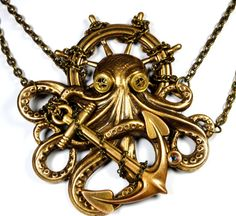 Steampunk Necklace Octopus Necklace Steam Punk Kraken Cthulhu Steampunk Goggles Steam Punk Jewelry By Victorian Curiosities. $38.00, via Etsy.
