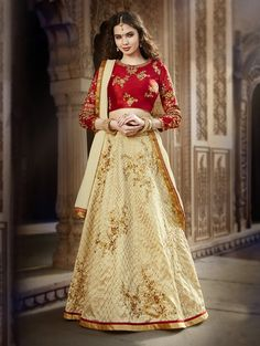 Cream Bangalore Silk Lehenga Choli with Embroidery Work