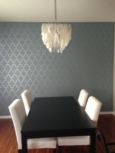 An Sparkly Accent Wall Using The Mermaid Stencil From Cutting Edge Stencils Cuttingedgestencils Pattern Walls