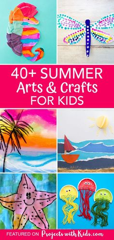 Say goodbye to summer boredom with this amazing collection of summer arts and crafts that kids will love! Lots of ideas to keep kids of all ages and abilities engaged and creating all summer long. #projectswithkids #summercrafts #kidsart #kidscrafts Clay Art Projects, Craft Projects For Kids, Craft Activities For Kids, Preschool Crafts, Craft Ideas, Painting For Kids, Art For Kids, Canada Day Crafts, Cute Kids Crafts