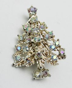 Vintage Christmas Tree Sparkling Brooch by HeirloomBandB on Etsy, $29.00