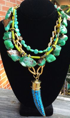 Exotic Amazonite, Green Glass, Gold Chain and Turquoise Tusk Necklace | XO Gallery $350