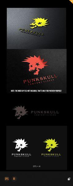 Punk Skull Logo — Vector EPS #gang #old school • Available here → https://graphicriver.net/item/punk-skull-logo/4921621?ref=pxcr