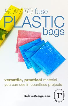 How To Fuse Plastic Bags: Ironing plastic shopping bags together creates a versatile material that can be used in countless craft projects. It's waterproof, flexible, easy to work with, and a cinch to make - ventilate - watch out for any fumes Plastic Bag Crafts, Plastic Recycling, Recycled Plastic Bags, Recycled Crafts, Recycled Clothing, Recycled Fashion, Recycled Materials, Diy Projects To Try, Craft Projects