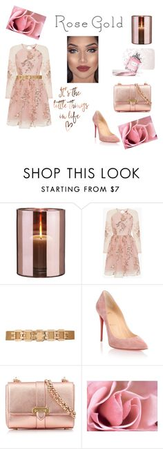 """Rose Gold"" by nancy-serrano85 ❤ liked on Polyvore featuring Skogsberg & Smart, Chi Chi, City Chic, Christian Louboutin, Aspinal of London and Christian Dior"