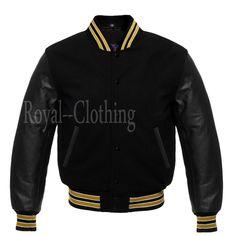 Varsity Letterman baseball All Black Wool Bomber style Gold Trimming Jacket Royal Shop, Leather Sleeve Jacket, Royal Clothing, Superfly, Black Wool, All Black, Street Wear, Baseball, Letterman Jackets