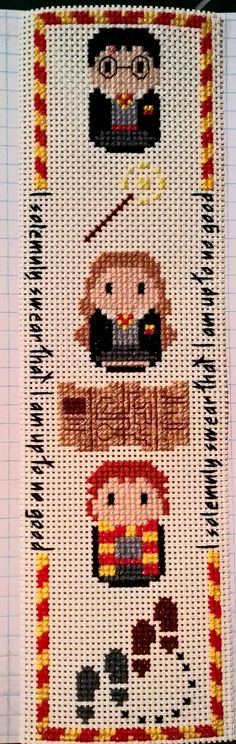 Featuring Harry, Hermione and Ron along with a wand, Marauders Map and footsteps . Gryffindor house colors and I solemnly swear that I am up to no good border  Design by Clouds Factory  Cross stitched on durable vinyl weave so no fraying or staining  MADE TO ORDER  Design can be made ready to fit a 5x7 frame on Aida cloth with or without border