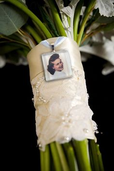 Cute idea...photo charm for bridal bouquet – love this idea for remembering someone at your wedding