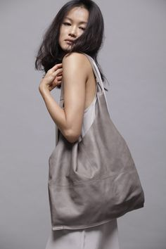 Grey hobo bag- Leather bag - Luca bag