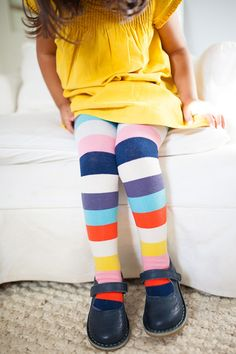Our supersoft, cotton rich tights are perfect for mini adventures whether going back to school or running around at the weekend. Worn with our yellow ruffle dress by @SouthernMG with little school shoes, they're the base layer that will go with EVERYTHING!