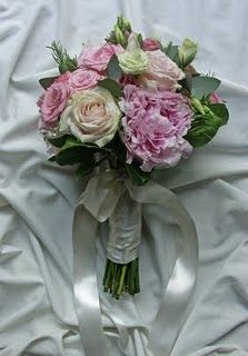 Fresh Hand-Tied Bouquet of Roses, Peonies, Lizianthus, Rosemary and Eucalyptus.