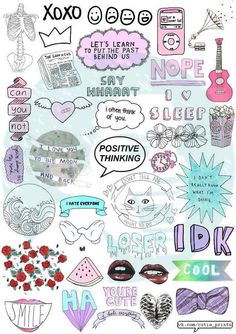Set 117. Tumblr Stickers. Stickers. Set of by BestStickersClub