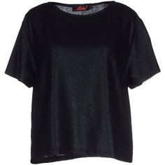 Motel T-shirt ($54) ❤ liked on Polyvore featuring tops, t-shirts, black, black pocket tee, short sleeve pocket t shirts, stretch t shirt, short sleeve tee and short sleeve t shirts