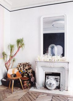 disco ball in the fireplace