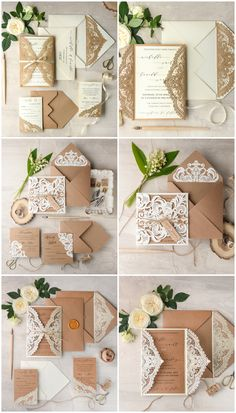 Laser cut lace romantic rustic Wedding Invitations #lasercut #eco #kraft #romantic #rustic #weddinginvitations #weddingideas #elegant #weddingstationery
